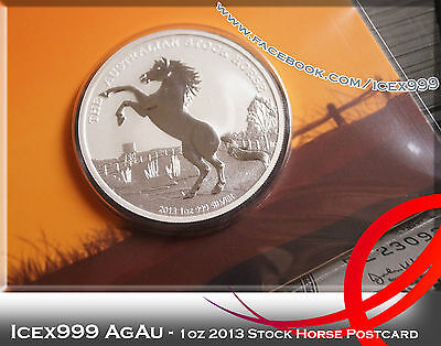 1oz 2013 Perth Mint Stock Horse Postcard Silver Coin - Only 1000 Worldwide