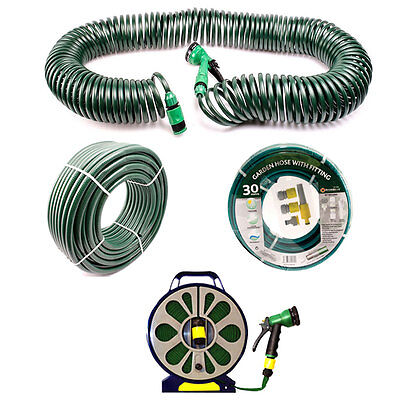 Garden Hose Pipe Water Tube PVC Nozzle Watering Pipes Spray Green 15m - 50m