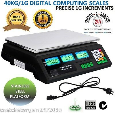 Kitchen Electronic Computing Digital Scales Weight 40KG Black Food Commercial