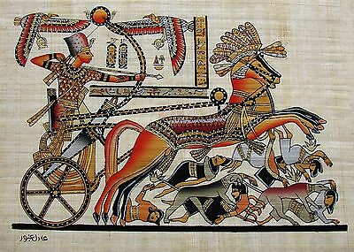 Egyptian Hand-Painted Papyrus Artwork: King Tutunkhamun in his Chariot SIGNED