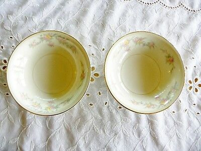 """HOMER LAUGHLIN EGGSHELL NAUTILUS FLORAL - TWO 5 1/4"""" BERRY BOWLS - read more...."""