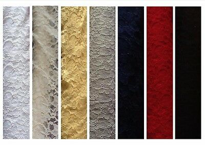 Quality (corded) Lace dress fabric; non-stretch 5 colours @ £7.95/m 1.47m wide
