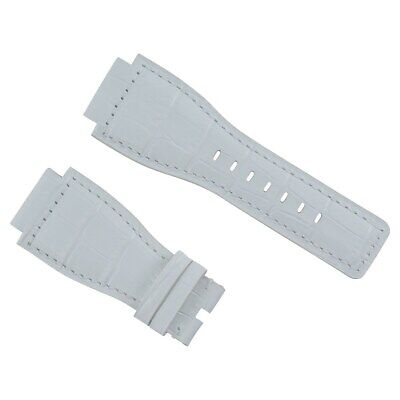 24Mm Leather Watch Band Strap For Bell & Ross Watch Br-01-Br-03 Watch White