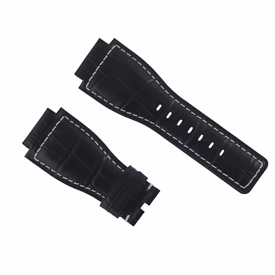 24Mm Leather Watch Band Strap For Bell & Ross Model Br-01-Br-03 Watch Black Ws #