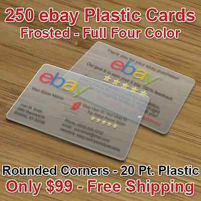 250 Plastic Ebay Business Cards - Frosted Finish, Full Color, Free Shipping