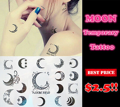 Brand New Assorted Fancy Moon Temporary Tattoo