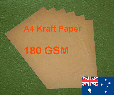 20 X A4 Kraft Paper Brown 180GSM All Wood Pulp Made