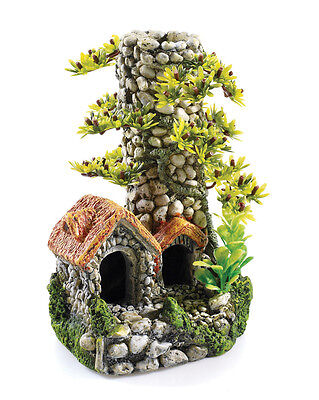 Cobbled Stone Chimney & Plants 30L Biorb Aquarium Ornament Fish Tank Decoration