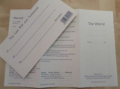 Last Will and Testament  Documents. x 2 (you may change your mind) FREE POSTAGE