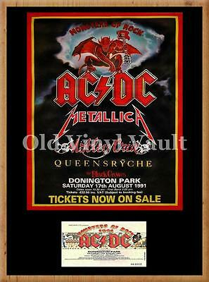 AC/DC Monsters Of Rock concert poster + ticket Donington Park UK 1991 A3 Repro