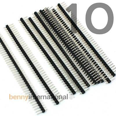 "10x 40 Pin MALE HEADER 0.1"" 2.54mm Breakable Pin Connector Way Arduino (10 Pack)"