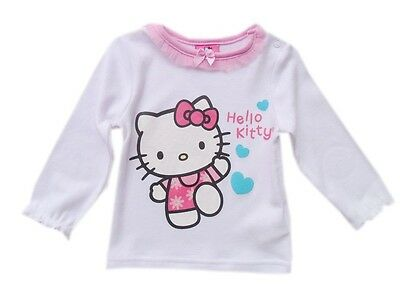Baby Girls Hello Kitty Long Sleeve Top Tee in White w/ Pink Tulle Size 1