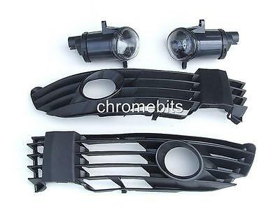 Front Fog Lights Light Lamps & Grill Set For Vw Passat 3Bg B5 2000-2005 E-Marked