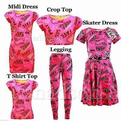 Kids Girls Lol Cool Graffiti Trouser Legging Skater Midi Dress Crop Top T Shirt