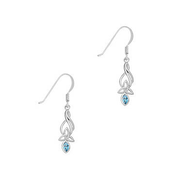 Celtic Sterling Silver Earrings with Blue Topaz and Trinity Knot Earrings 9345