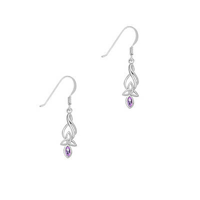Celtic Sterling Silver Earrings With Amethyst And Trinity Knot 9345