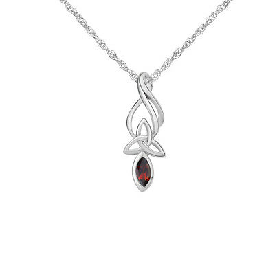 Celtic Sterling Silver Pendant with Garnet and Trinity Knot 9344