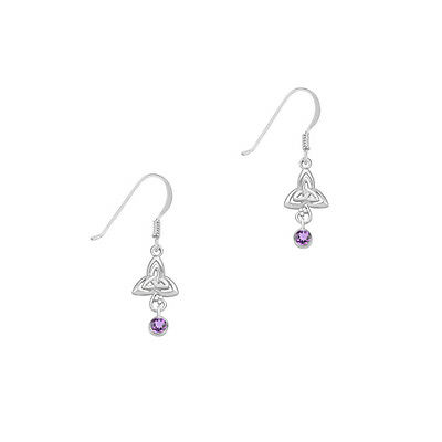 Celtic Sterling Silver Earrings with Amethyst and Trinity Knot Earrings 9341
