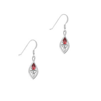 Celtic Sterling Silver Earrings with Garnet and Trinity Knot 9350