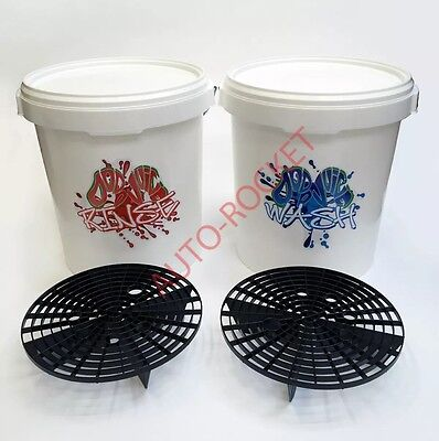 Dodo Juice Car Wash & Rinse Buckets, 20 Litre, Inc's Grit Guard Barriers & Lids