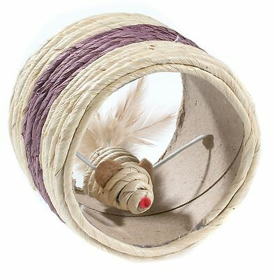 Cat Scratching Sisal Toy Mouse in Wheel 10cm Kitten & Cat Play Toy