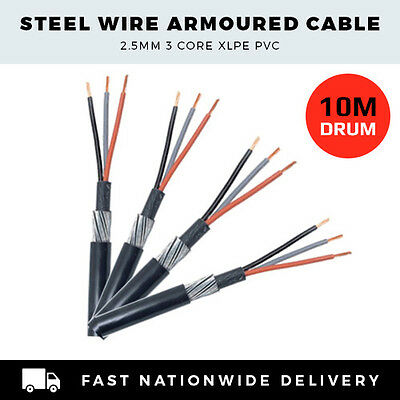 ARMOURED CABLE 2.5mm 3 CORE SWA CABLE PER 10M DRUM