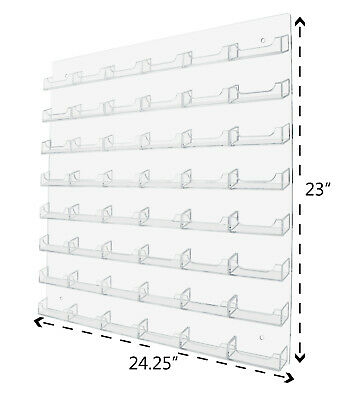 48 Pocket Transparent Clear w/ Clear Business Card Holder Acrylic Wall Mount US