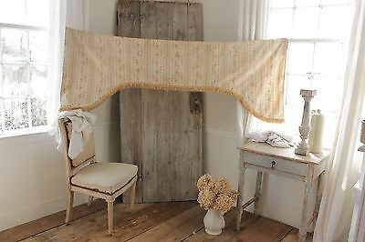 Antique French woven fabric valance c1910 with fringe trim LAMBREQUIN