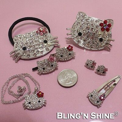 Hello Kitty Cute Fashion Jewelry Crystal Bracelet Chain Necklace Earrings Ring