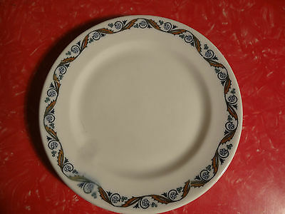 Vintage Shenango China Restaurant Ware Plate White w/ blue Flowers brown trim