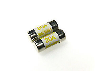 20A BS1361 25mm long UK MADE 2 x 20 amp consumer unit cartridge fuse fuses