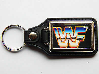 WWF WORLD WRESTLING FEDERATION Classic Quality Chrome And Leather Keyring