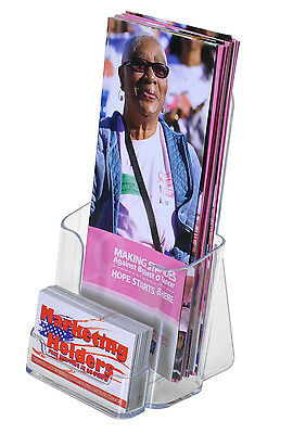 Qty 100 CLEAR TRI FOLD BROCHURE & BUSINESS CARD HOLDERS