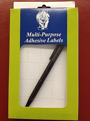 1000 3/4x1 White Adhesive Multi Purpose Labels w/Pen Jewelry Merchandise Crafts