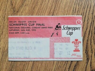 Llanelli v Swansea 1992 Welsh Cup Final Used Rugby Ticket