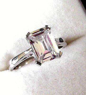 Rhodium Plated 925 Hallmarked Silver Emerald Cut Solitaire Engagement Ring