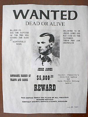 """(698L) OLD WEST OUTLAW JESSE JAMES $5,000 REWARD WANTED REPLICA POSTER 11""""x14"""""""
