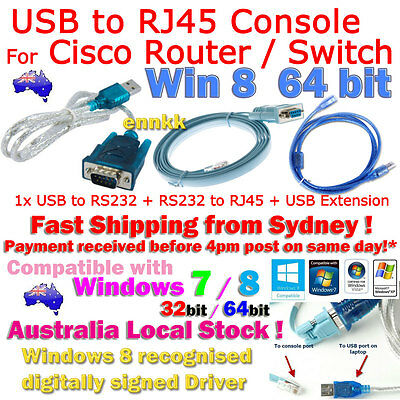 cisco console USB RS232 DB9 Serial Cable Adapter Converter Windows 8 Win 7 64bit