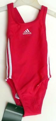 Adidas Baby Girls 3 Stripe Swimsuit, Costume, Pink Bathing Suit