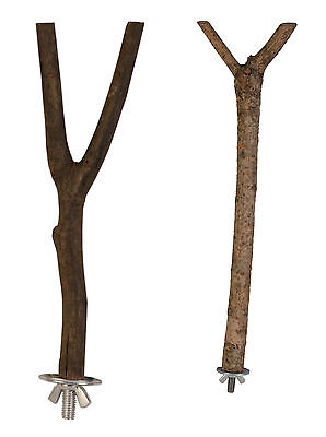 Natural Wood Y Shaped Wooden Bird Perch Cage Perches in 2 Sizes