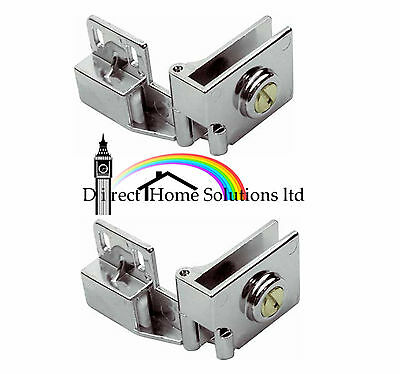 2 X Glass Door Hinges 170º For Inset Doors Polished Chrome
