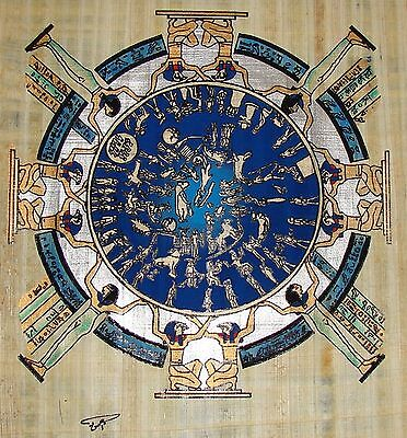 Egyptian Hand-painted Papyrus Artwork: Circular Zodiac from Temple of Dendera