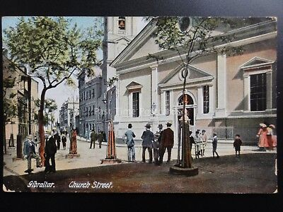 Gibraltar: CHURCH STREET c1913 excellent animated street scene - Old Postcard