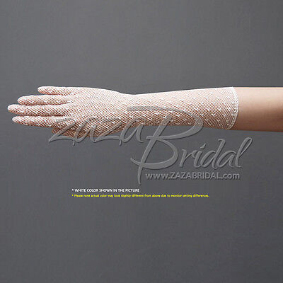 Delicate Long Stretch Filet Crochet Gloves with Small Dot Decorate