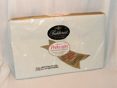 New Vintage Fieldcrest Full Fitted Bed Sheet 54 x 75 Mattress Cotton Blend