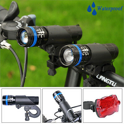 Portable LED Zoomable 2 Front Lights + 5 LED Rear Light For Bike Bicycle Cycling