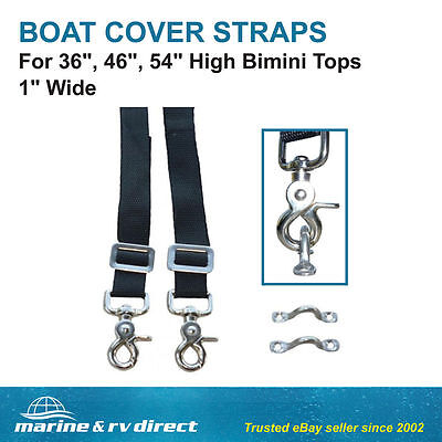 "(2) Bimini Top Straps 1"" Wide For 36"", 46"" 54"" High Stainless Steel Eye Hooks"