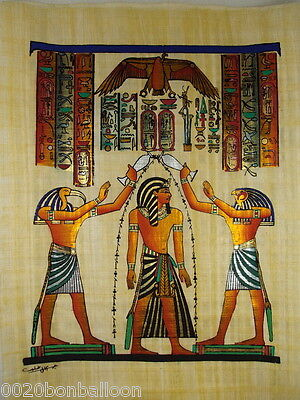 "King Ramses Carination Original Hand Painted Papyrus 12""X16""(30x40 Cm)"