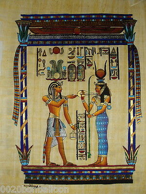 "Egypt King Ramses And Hathour Original Hand Painted Papyrus 12""X16""(30x40 Cm)"