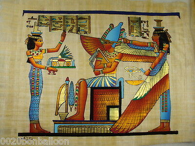 "Pharaoh  Egypt Isis And Matt Original Hand Painted Papyrus 12""X16""(30x40 Cm)"